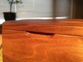 walnut bevel box - finger pull detail