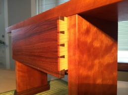 cherry door step bench - drawer detail