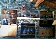 living room built in and fireplace mantel