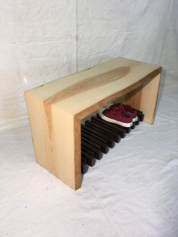"""Front entry waterfall bench with textured live edge and shoe shelf (13""""x16""""x32"""")"""