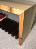 "Front entry waterfall bench with textured live edge and shoe shelf (13""x16""x32"")"