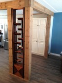 faux post and beam with wine rack insert